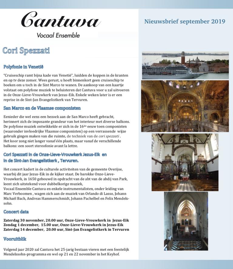 Cantuva Nieuwsbrief september 2019